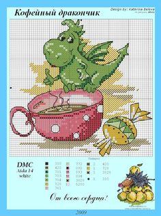 Dragons and candy Dragon Cross Stitch, Cross Stitch Fairy, Cross Stitch Animals, Baby Cross Stitch Patterns, Cross Stitch Charts, Cross Stitch Designs, Cross Stitching, Cross Stitch Embroidery, Stitch Cartoon