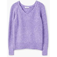Chunky-Knit Sweater ($53) ❤ liked on Polyvore featuring tops, sweaters, thick sweaters, v neck cable knit sweater, thick cable knit sweater, purple v neck sweater and long sleeve tops