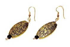 Sale 25% off Golden Dangly Earrings Antique Gold by KTKCollections