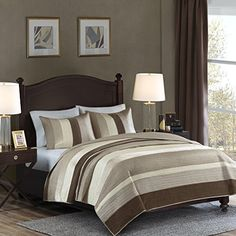 #bedding Provide an upscale look for your bedroom with the #Madison Park Signature Kensington Coverlet Mini Set. Warm shades of ivory, taupe and khaki provide a ...