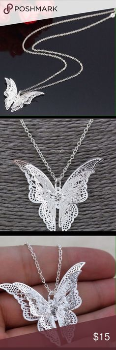 925 Sterling Silver Butterfly Pendant This is a cute little 935 sterling silver butterfly pendant and chain. Jewelry Necklaces