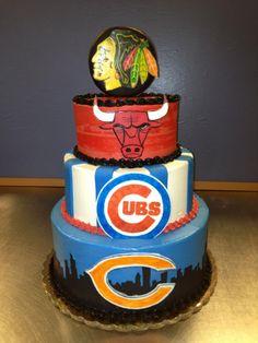 Chicago Sports 3 Tier Cake $175