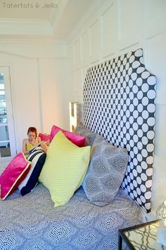 upholstered diy headboard for tween room at tatertots and jello