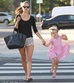 More pink! Alessandra, still sporting cotton between her pedicured toes, and little Anja later grabbed frozen yogurt at Pinkberry