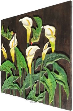 """Flying Bird Calla Lily Flower Wood Carved Wall Hanging. Dark Brown 27.5"""" Carved Wood Wall Art, Wooden Art, Small Figurines, Panel Wall Art, Floral Wall Art, Calla Lily, Wall Plaques, Carving, Dark Brown"""