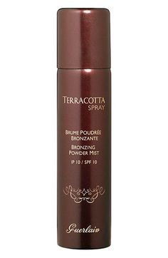 Yahoo Shopping Review says: This mist gives skin and body an airbrushed kiss of sun that stays put for hours. Make out, work out, pass out – it won't budge.   Guerlain Terracotta Spray SPF 10, $61, nordstrom.com