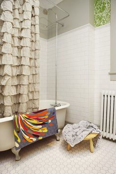 New Ruffle Shower Curtain For New Frilly Looks: Contemporary Bathroom With  Chic Ruffled Shower Curtain