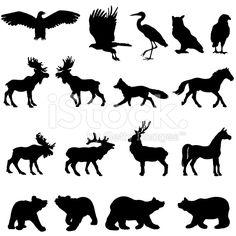 Large woodland animal silhouette set royalty-free stock vector art