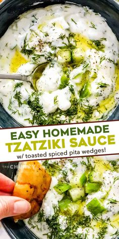 This cool and creamy Homemade Tzatziki Sauce is perfect on all kinds of grilled meats, but also with spiced toasted pita wedges and crunchy fresh vegetables! #tzatziki #greek #sauce #yogurt Homemade Tzatziki Sauce, Homemade Sauce, Easy Appetizer Recipes, Yummy Appetizers, Sauce Recipes, Dip Recipes, Potato Recipes, Summer Recipes, Easy Recipes