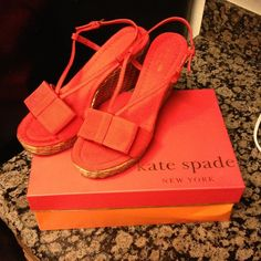 BNWT Kate Spade Wedges Callista wedge from Kate Spade!! Bought for a work event but didn't end up wearing. They are super cute, red with wicker! kate spade Shoes