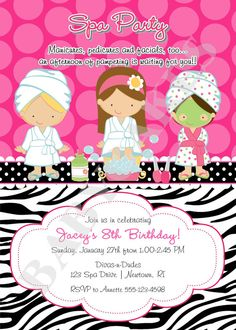 Diy sassy spa party invitation this is the invitation we customized spa party birthday invitation invite spa birthday party choose your girls printable diy stopboris Images