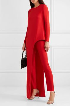 Red silk-crepe Concealed hook and zip fastening at side silk Dry cleanLarge to size. See Size & Fit notes. Fashion Mode, Look Fashion, Womens Fashion, Fashion Trends, Mode Outfits, Chic Outfits, Red Pants, White Pants, Silk Crepe