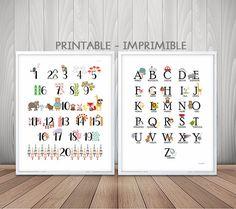 Abecedario español , numeros infantiles, alfabeto español, laminas infantiles, aprendizaje niño, cuadros infantiles, laminas A4, laminas A3