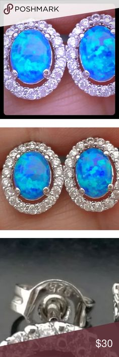 "💠BLUE AUSTRALIAN OPAL➕CZ  STUD EARRINGS•925 SS💠 💙BLUE AUSTRALIAN OPAL STUD EARRINGS set with CZS AROUND THE OPAL & 925 STERLING SILVER! Condition: New Stone Types: Natural AUSTRALIAN Opals & CZS  Total Weight: 1.9 grams (including gemstone & silver) Setting Metal: 925 Solid Sterling Silver  Earring face size: .28"" W X .36"" L💙 Jewelry Earrings"