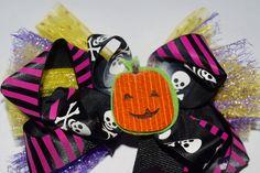 Halloween Skull and Cross Bones Girls Halloween Hair Bow Skull Bones Halloween Handmade Hair Bow Girls Stacked Halloween Bow by RachelsHairBowtique on Etsy