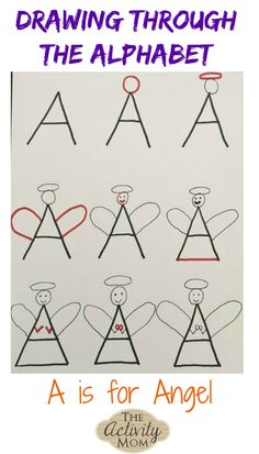 Drawing Tutorials Drawing Through the Alphabet - A is for Angel - A drawing tutorial for kids to reinforce printing letters and letter sounds. Alphabet Drawing, Drawing Letters, Alphabet Art, Letter Art, Mom Drawing, Drawing Lessons, Drawing For Kids, Drawing Hair, Drawing Faces