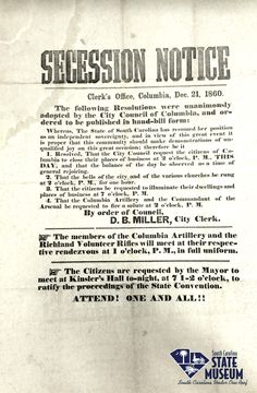 Secession Notice | December 21, 1860 | Clerk's Office | Columbia, South Carolina