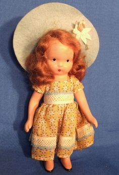 "5"" Bisque Nancy Ann Storybook Doll in Gold Calico"