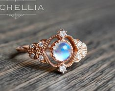 vintage moonstone floral engagement ring in 14k or 18k solid - Moonstone Wedding Ring