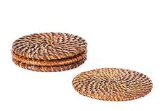 One Kings Lane - The Global Table - S/4 Rattan Coasters, Tobacco