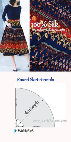 How to make round skirt? FREE round skirt sewing pattern by fabricAsians. Online Silk Store.