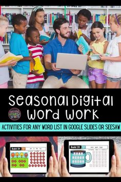Looking for fun digital activities you can use for word work? Grab these Google Slides and Seesaw templates! Type in any list of spelling words or sight words and assign right in Seesaw or Google Classroom. Teacher time saver! Word Work Games, Word Work Activities, Spelling Words, Sight Words, 2nd Grade Classroom, Classroom Teacher, Digital Word, Teaching Second Grade, Smile Word