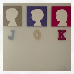 Kids silhouettes with Initial By Mandi Brower