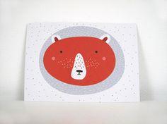 Postkarte Bär rot Postkarte im Din A6 Format gedruckt auf hochwertigem Recyclingpapier.  1,50 € inkl. MwSt., zzgl. Versandkosten