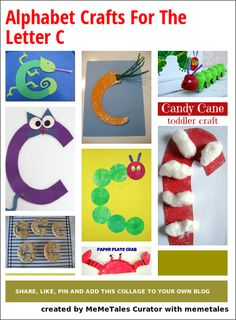 Alphabet crafts for the letter C - withcarrot, caterpillar, cookie, crab, candy cane, cat and chameleon
