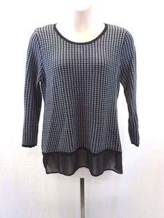 STYLE & CO. Women's Gray & Black XL Sweater Sheer Bottom Trim #Styleco #Crewneck
