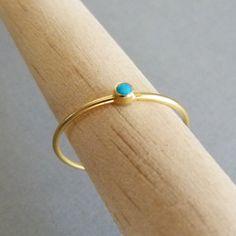 14k Gold Ring - Thin Gold Ring - Delicate Gold Rings - Gemstone Ring. $123.00, via Etsy.