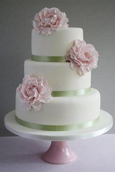 Pink Peony Wedding Cake