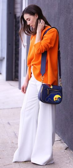 spring fashion Orange Knit & White Wide Pants