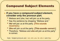 But the case rule becomes crucial when a noun and pronoun—or a pronoun and another pronoun—are combined to form compound subjects, compound doers of the action, or compound objects (receivers of the action). The case rule provides that we can't mix a noun and pronoun—or a pronoun and another pronoun—that are in different cases. When we do, the resulting sentence will be grammatically incorrect.Here are typical examples of disallowed case mixing:1. Mixing a noun and the objective-case pronoun