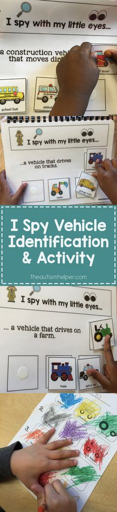 Vehicles are the theme this month with many of Sarah the Speech Helper's students. I Spy Vehicle book with a follow up identification board activity works on vehicle identification with all levels of learners. More on how these can be adapted at theautismhelper.com