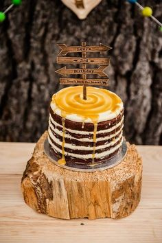Boy's Modern Camping Birthday Party Naked Cake Ideas