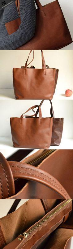 5de9e78a98ec Handmade Leather handbag shoulder bag large tote for women leather shopper  bag Tejidos