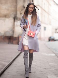 #WithChic #chicoftheday, Simple Cheap Chic, Shop Gray Over the Knee Boots Stretch Suede Laced Back High Heels Boots online.