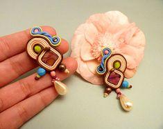Long dangle earrings, soutache clip on earrings, teardrop vintage earrings, brown flamenca earrings, statement earrings, evening earrings
