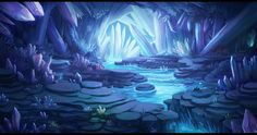Kristallhöhle Konzept , You are in the right place about Landscaping illustration Here we offer you the most beautiful pictures about the Landscaping mountain you are looking f Fantasy Art Landscapes, Fantasy Landscape, Fantasy Artwork, Landscape Art, Environment Concept Art, Environment Design, Fantasy Places, Fantasy World, Casa Anime