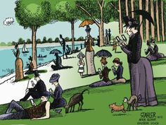 Sunday in the Park... - after Seurat - by Jeff Stahler