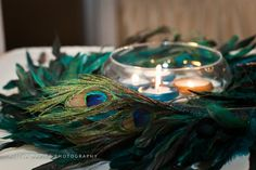 Peacock Themed Wedding - Floating Candle Centerpieces  Photo By Alicia Napier Photography (Michael's wreath)