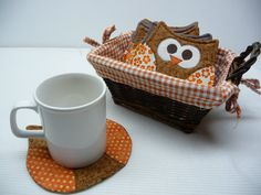 Owl Mug Rug Owl Coaster Mug Rug Coasters by SewSweetSparrow