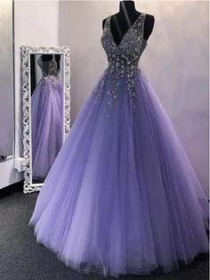 Puffy Prom Dresses, Lilac Prom Dresses, Pretty Prom Dresses, Quince Dresses, Lilac Dress, Ball Gowns Prom, Ball Gown Dresses, Tulle Prom Dress, Formal Evening Dresses