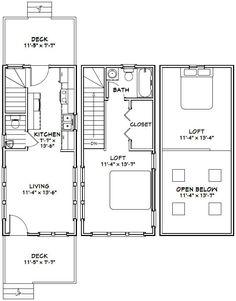 12x28 Tiny House -- #12X28H8A -- 756 sq ft - Excellent Floor Plans