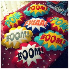 diy inspiration [BOOM POW plushie / cushion Superhero by TheCraftyButtonUK, Geek Crafts, Diy And Crafts, Diy Pillows, Cushions, Fabric Crafts, Sewing Crafts, Craft Projects, Sewing Projects, Ideias Diy