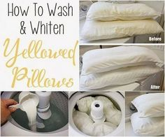 tips for How to wash and whiten pillows wonderfuldiy Wonderful Tips for Cleaning Yellow Pillows Deep Cleaning Tips, House Cleaning Tips, Diy Cleaning Products, Spring Cleaning, Cleaning Hacks, Cleaning Items, Cleaning Solutions, Whiten Pillows, Diy Pillows