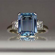 http://rubies.work/0010-ruby/ Aquamarine and diamond ring in platinum. - 20 Gorgeous #Aquamarines - Style Estate -