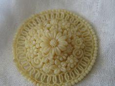 Large VINTAGE Lace Pierced Celluloid Flower BUTTON by abandc