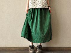 Causel Loose Green Cotton Big Long Women Skirt Long Skirt ---2colours. $45.00, via Etsy.